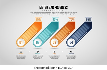 Vector illustration of Meter Bar Progress Infographic design element.