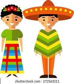 Vector illustration of mexican children, boy, girl, people Set of  mexican woman and man  dressed in national costumes