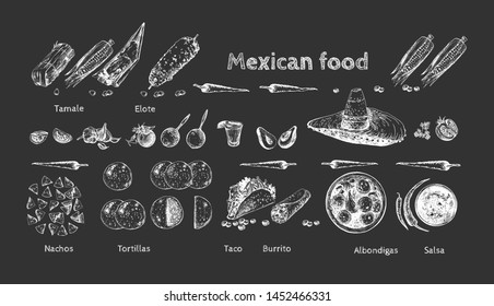 Vector illustration of Mexican food mega pack set. Tamale, Elote, chili peppers, Nachos, Tortillas, Taco, Burito, Albondigas, Salsa, Tequila with lime, vegetables. On black board chalk hand drawing