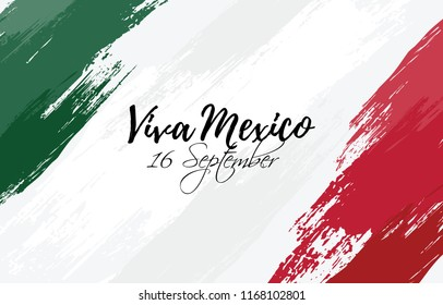 vector illustration. Mexican national holiday, Independence Day of Mexico is celebrated on September 16. design graphics in symbolic colors. translation from Spanish: happy day of independence mexico