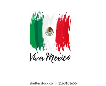 vector illustration. Mexican national holiday , Viva Mexico is celebrated on September 16. design graphics in symbolic colors. translation from Spanish: happy day of independence mexico