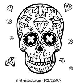 Vector illustration. Mexican skull.