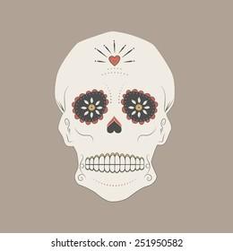 Vector illustration of a mexican skull, Day of the dead sugar skull.