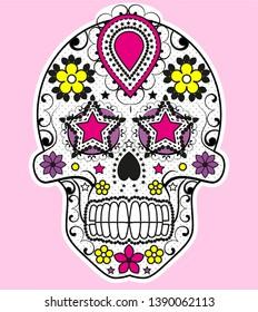 Vector illustration of mexican sugar skull - dia de los muertos