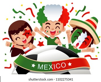 Vector illustration of Mexico football fans characters celebrating