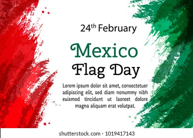 Vector illustration Mexico National Day, Mexican flag in trendy style. 24 February Day of Flag Mexico. Design template for poster, banner, flayer, greeting,invitation card.Independence day card.