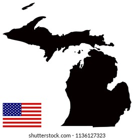 vector illustration of Michigan map with USA flag