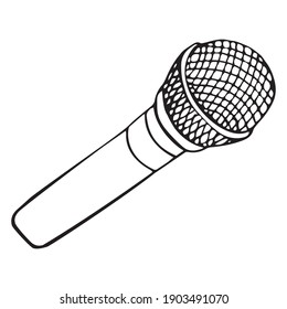 Vector illustration of a microphone. An object, linear image of a music microphone. Isolated picture in the doodle style.