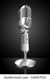 vector illustration of microphone on black background
