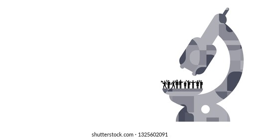 vector illustration of microscope and crowd of people for social science or human behavior investigation concept