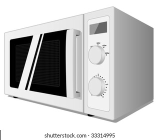 Vector illustration of microwave oven isolated on white background.