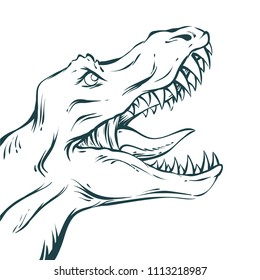 Vector illustration in mid century comics style - outline rawring dinosaur head on isolated white background