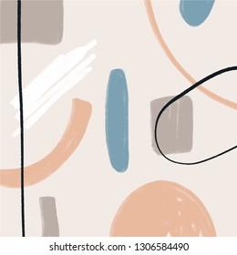 Vector illustration. Mid century modern abstract art. Nordic interior design. Poster and print, scandinavian style