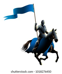 Vector illustration of a middle ages knight on horse carrying a flag