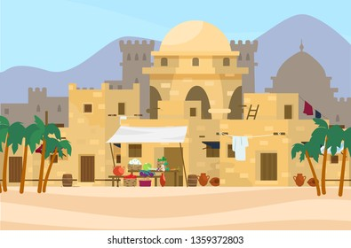 Vector illustration of Middle Eastern cityscape with traditional houses, market and castle on the background. Ancient arab village. Flat style.