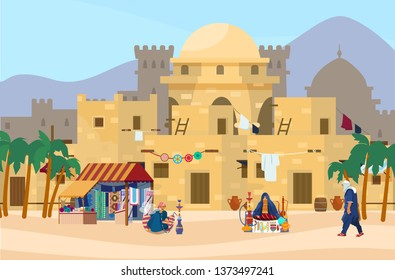 Vector illustration of Middle Eastern cityscape with traditional houses, market and castle on the background. Ancient arab village. Veiled woman sells jewelry and ceramics. Fabric store. Flat style.