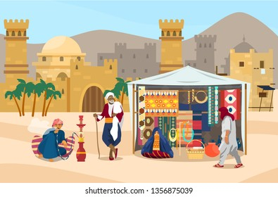 Vector illustration of Middle Eastern scene. Arabian people in marketplace with ancient city at the background. Street shop with carpets, fabrics, jewelry, ceramics. Veiled woman, man smoking hookah.