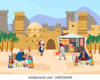 Vector illustration of Middle Eastern scene. Castle with towers and gates. Arabian houses. Street trade. Man smoking hookah. Veiled woman sells jewelry and ceramics. Desert landscape. Flat style.