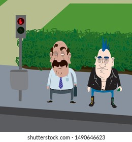 Vector illustration of a middle-aged man and an old punk standing at a traffic light and.