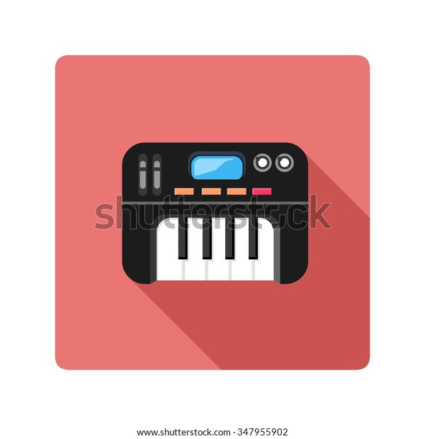 Vector Illustration Midi Keyboard Flat Icon Stock Vector