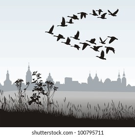 vector illustration of migratory wild geese silhouette of the historic town