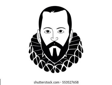 Vector Illustration of Miguel de Cervantes Saavedra, spanish writer of the book Don Quixote de la Mancha
