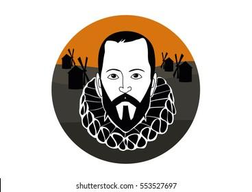 Vector Illustration of Miguel de Cervantes Saavedra�, spanish writer of the book Don Quixote de la Mancha