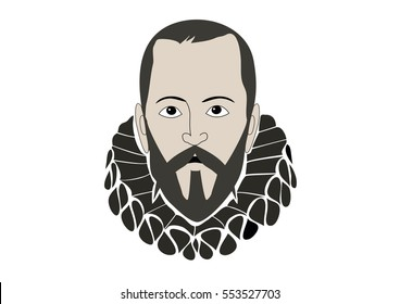 Vector Illustration of Miguel de Cervantes Saavedra�, spanish writer of the book Don Quixote de la Mancha