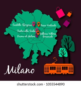 Vector illustration of Milan map. Paper cut style. Milan map illustration with pinned landmarks