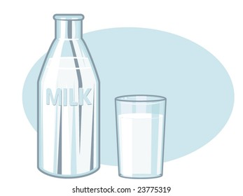 vector illustration of a milk bottle and a glass of milk
