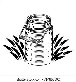 Vector illustration of milk can. Logo illustration on white background.