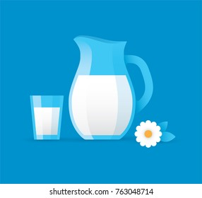 Vector illustration with milk jug and glass isolated on blue background. Fresh, natural, organic, healthy dairy product design element.