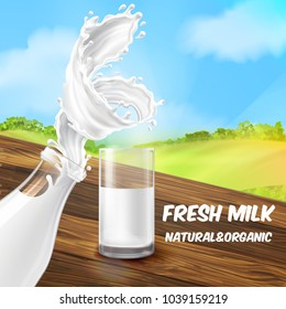 Vector illustration of milk splash, swirl in the bottle and glass. Advertising poster of farm product on wooden table on the green field background. Promo banner of natural drink, template for label