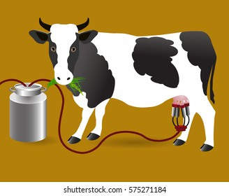 Vector Illustration. Milking of a cow.