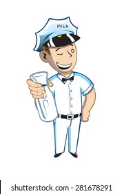 The vector illustration is of a Milkman dressed in white with a black bow tie./Milk Man