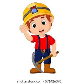 vector illustration of miners boy cartoon