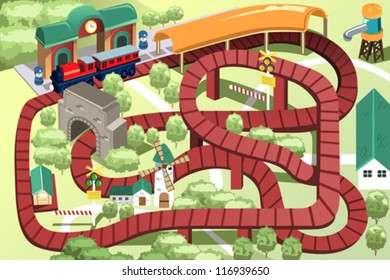 A vector illustration of a miniature train toy track