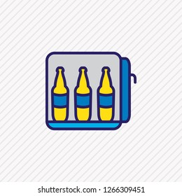 Vector illustration of minibar icon colored line. Beautiful travel element also can be used as mini fridge icon element.