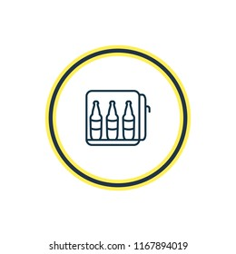 Vector illustration of minibar icon line. Beautiful tourism element also can be used as mini fridge icon element.