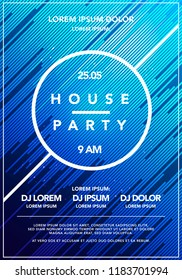 Vector Illustration Minimal house party poster. Futuristic flyer design. Dynamic background with line shapes in motion. template.