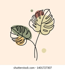 Vector illustration in minimal linear style - monstera leaves - abstract modern t-shirt print  - beauty and fashion concept