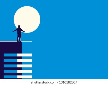 Vector illustration in minimal style of a man standing by the light of the moon on the roof of the building.