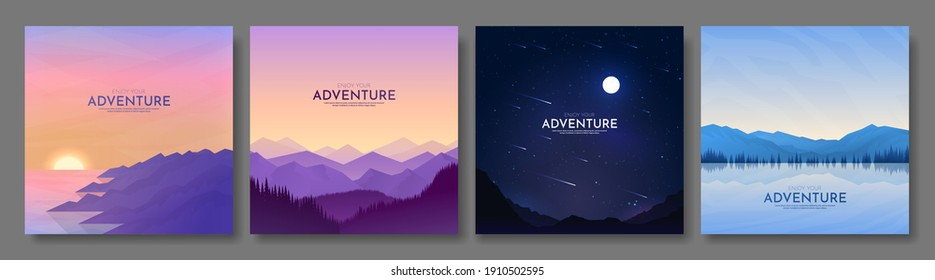 Vector illustration. Minimalist backgrounds. Flat concept. 4 landscapes collection. Mountain view, forest trees, night scene, water and rocks. Design for banner, blog post, social media template