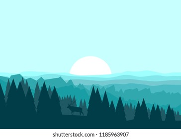 Vector illustration in a minimalist style. The moose in the forest