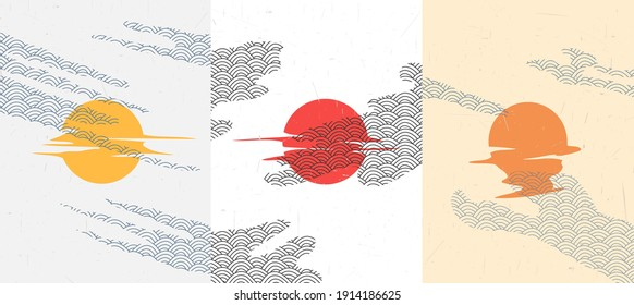Vector illustration. Minimalist surreal poster collection. Sun reflection. Moon and clouds. Abstract backgrounds. Design for postcard, book cover, flyer, gift card. Travel and tourism concept