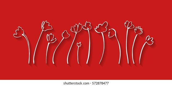 vector illustration; minimalistic card; a set of hand drawn decorative flowers; great for greeting cards; posters;