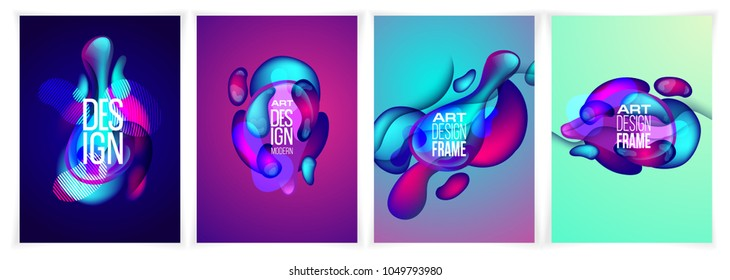 vector illustration. A minimalistic design of the hipster frames. Vector gradient. frame for text modern design. stylish gradients graphic in fluid style. business cards, invitations, gift cards, leaf