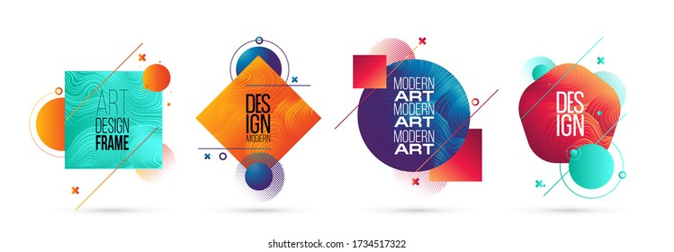 vector illustration. A minimalistic hipster colored frame design. Vector line gradient halftone. frame for text Modern Art graphics.