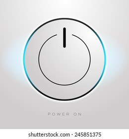 Vector illustration of minimalistic power on button with blue glowing