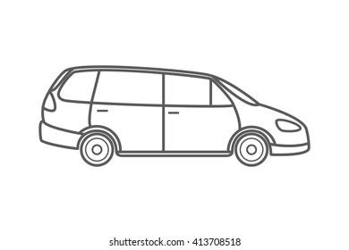 Vector illustration of a minivan, family car. Original design, no brand.